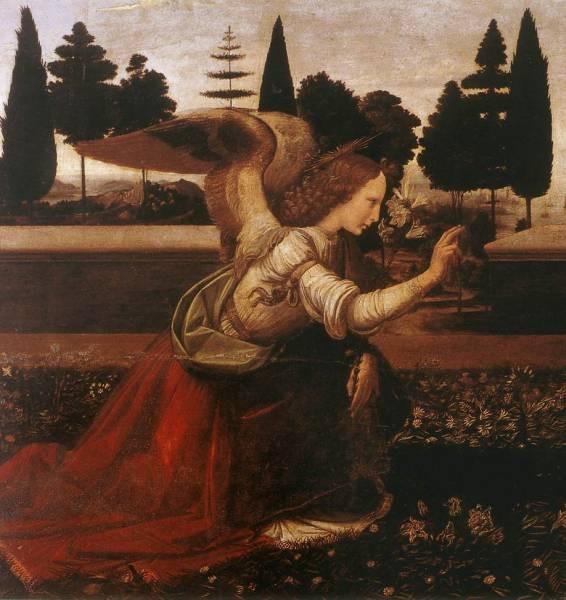 Leonardo da Vinci Annunciation detail1